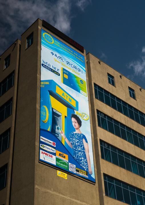 Giant billboard of atm on side of building, Addis abeba region, Addis ababa, Ethiopia