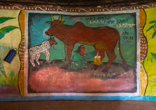 Ethiopia, Kembata, Alaba Kuito, traditional house with decorated and painted walls