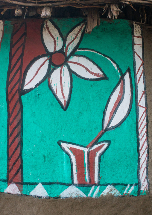 Ethiopia, Kembata, Alaba Kuito, flower on a painted house
