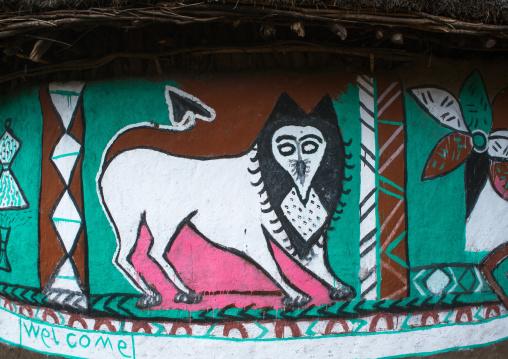 Ethiopia, Kembata, Alaba Kuito, lion on a painted house