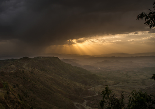 Storm clouds gathering over a valley, Amhara region, Lalibela, Ethiopia