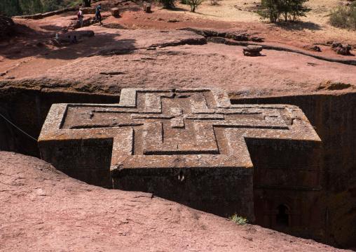 Monolithic rock-cut church of bete giyorgis saint george, Amhara region, Lalibela, Ethiopia