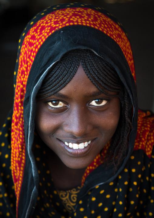 Portrait of a smiling Afar tribe teenage girl with braided hair, Afar region, Mile, Ethiopia