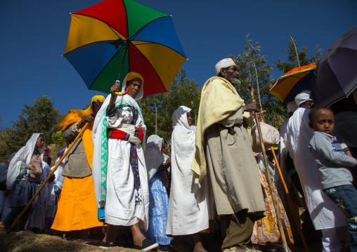 Ethiopian orthodox pilgrims during Timkat epiphany festival, Amhara region, Lalibela, Ethiopia