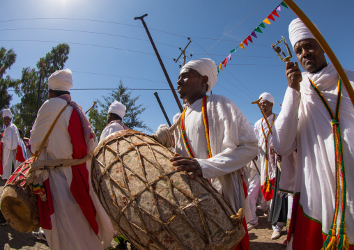 Ethiopian orthodox priests with drums celebrating the colorful Timkat epiphany festival, Amhara region, Lalibela, Ethiopia