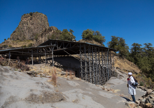 Asheten Mariam rock hewn church and its metal roof, Amhara region, Lalibela, Ethiopia