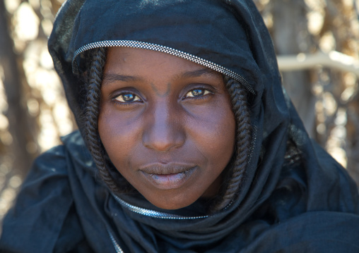 Afar tribe woman with tattoos on her face, Afar region, Chifra, Ethiopia