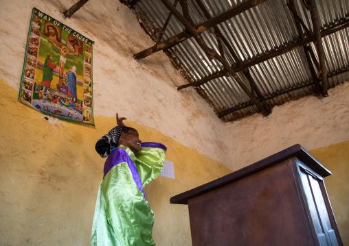 Borana pastor woman during sunday church service, Oromia, Yabelo, Ethiopia