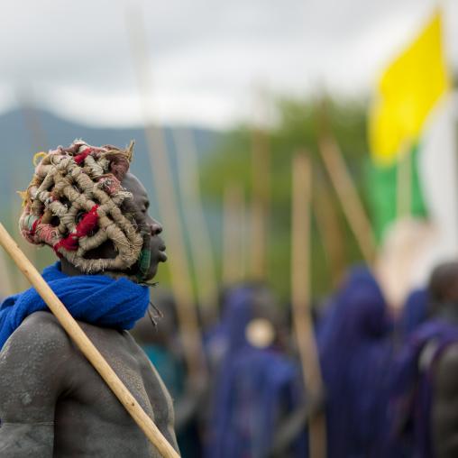 Donga stick fighting in Suri tribe, Tulgit, Omo valley, Ethiopia