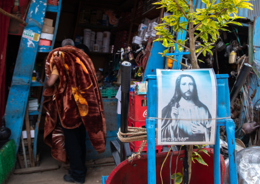 Jesus poster in the metal market, Harari region, Harar, Ethiopia