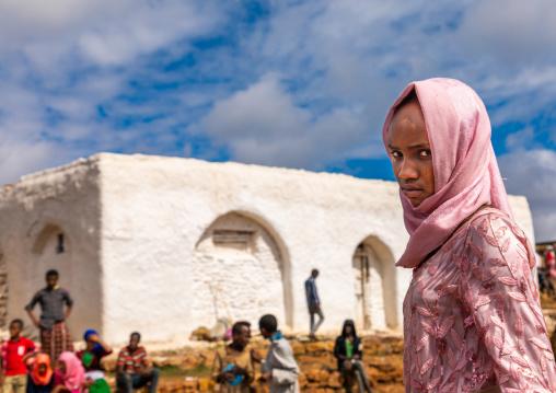 Oromo pilgrim girl in Sheikh Hussein shrine, Oromia, Sheik Hussein, Ethiopia