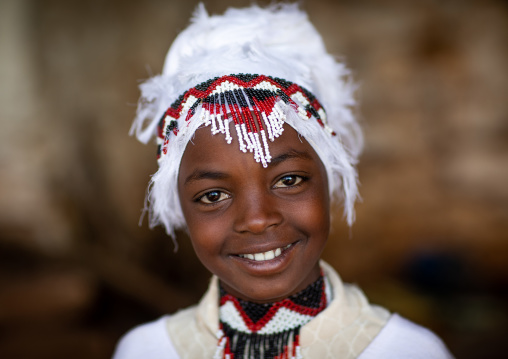 Oromo girl in traditional clothing during Sheikh Hussein pilgrimage, Oromia, Sheik Hussein, Ethiopia