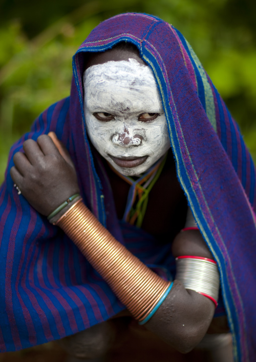 Surma Girl With The Face Painted In White, Kibbish Village, Omo Valley, Ethiopia