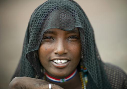 Miss Beride Wearing A Veil, Karrayyu Tribe, Ethiopia