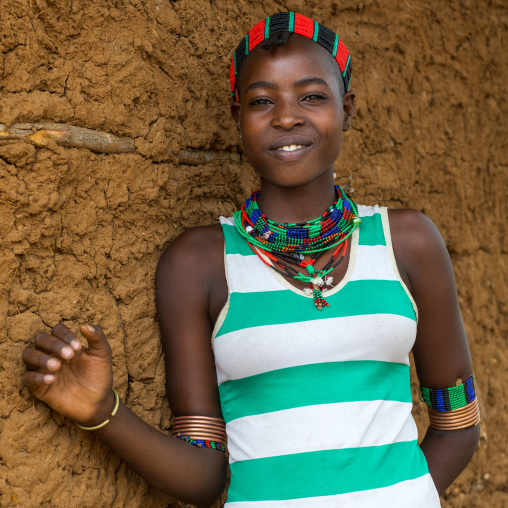 Portrait of a young woman from Hamer tribe, Omo valley, Turmi, Ethiopia