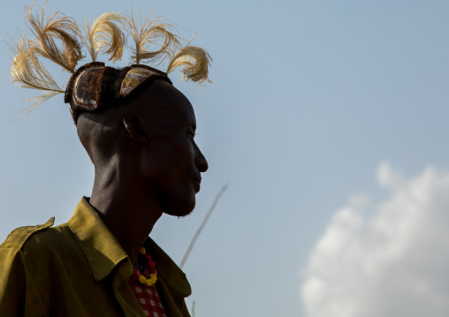 Tribe warriors during the proud ox ceremony in the Dassanech tribe, Turkana County, Omorate, Ethiopia