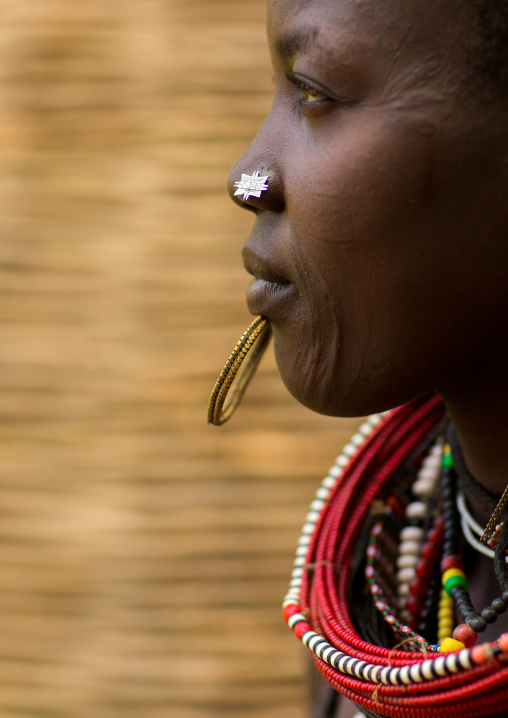 Portrait of a sudanese Toposa tribe woman refugee with huge necklaces and nose decoration, Omo Valley, Kangate, Ethiopia