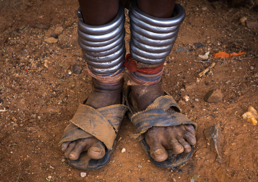 Iron anklets of a Hamer tribe woman, Omo valley, Dimeka, Ethiopia