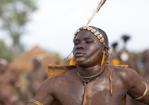 Bodi tribe fat man during Kael ceremony, Omo valley, Hana Mursi, Ethiopia