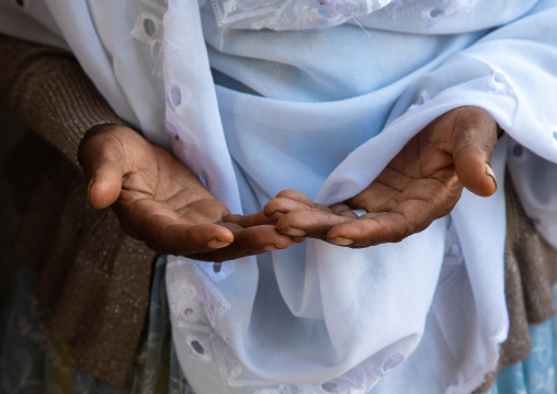 Hands of an ethiopian muslim woman praying, Harari Region, Harar, Ethiopia