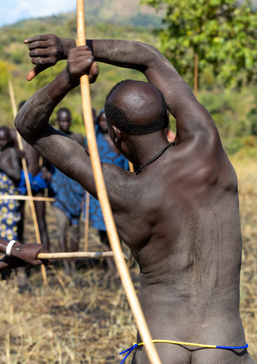 Suri tribe warriors fighting during a donga stick ritual, Omo valley, Kibish, Ethiopia