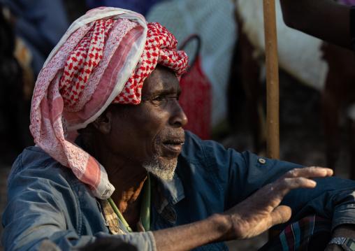 Oromo man in the market, Amhara region, Senbete, Ethiopia