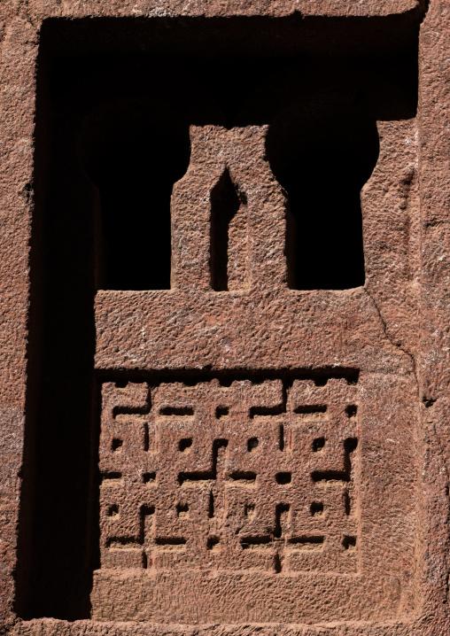 Monolithic rock-cut church window, Amhara Region, Lalibela, Ethiopia
