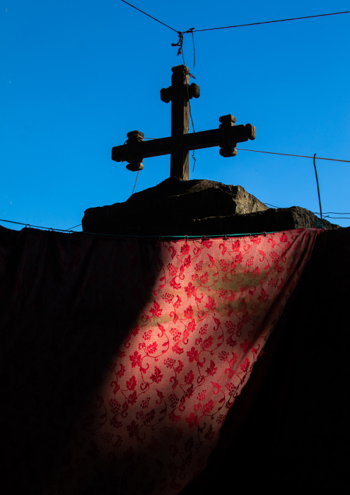 Orthodox cross in nakuto lab rock church, Amhara Region, Lalibela, Ethiopia