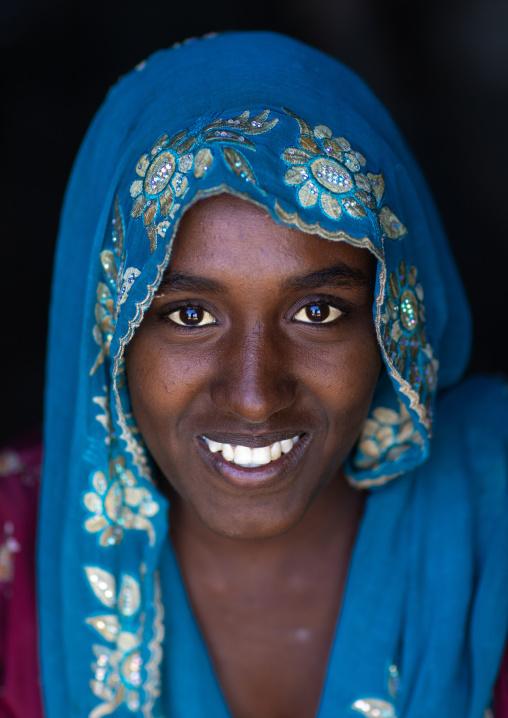 Portrait of a smiling raya tribe woman, Afar Region, Chifra, Ethiopia