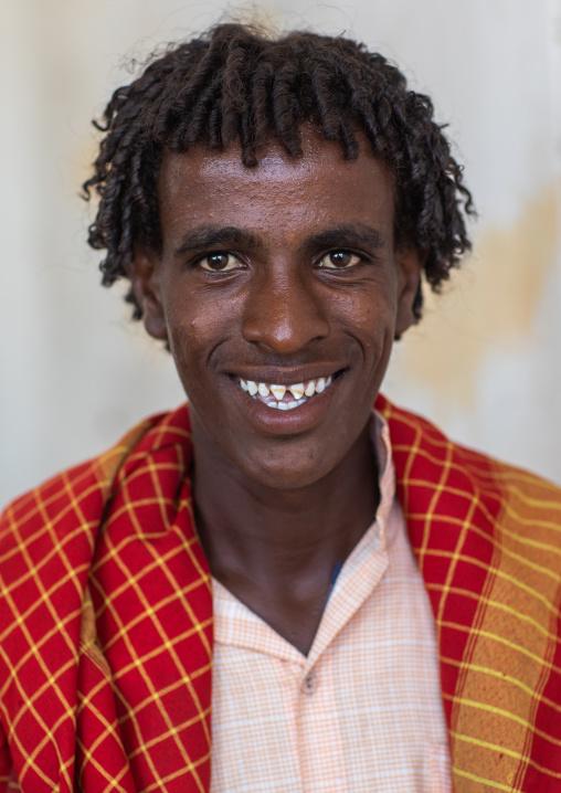 Portrait of an afar tribe man, Afar Region, Afambo, Ethiopia
