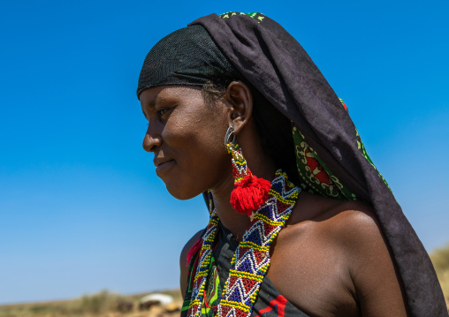 Portrait of an issa tribe woman with a beaded necklace, Afar Region, Gewane, Ethiopia