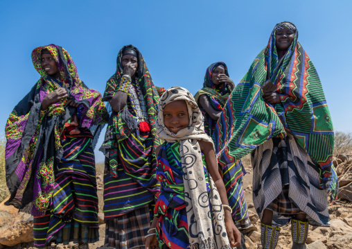 Portrait of an issa tribe family, Afar Region, Gewane, Ethiopia