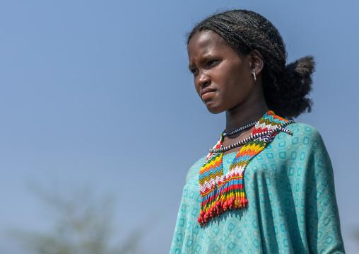 Oromo girl with a beaded necklace, Oromia, Mileso, Ethiopia