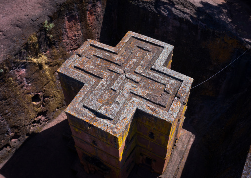 Aerial view of the monolithic rock-cut church of bete giyorgis, Amhara Region, Lalibela, Ethiopia