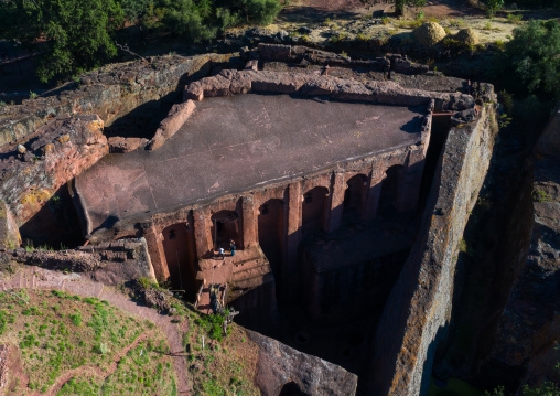 Aerial view of bete gabriel rafael twin church, Amhara Region, Lalibela, Ethiopia