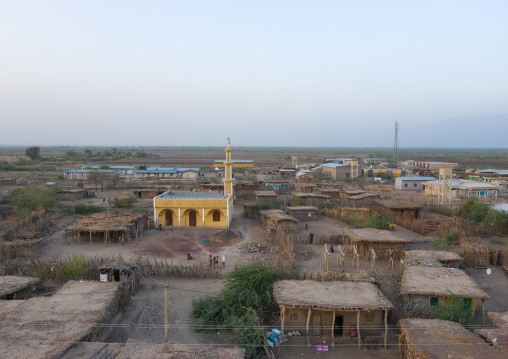 Aerial view of a mosque in the middle of houses, Afar Region, Afambo, Ethiopia