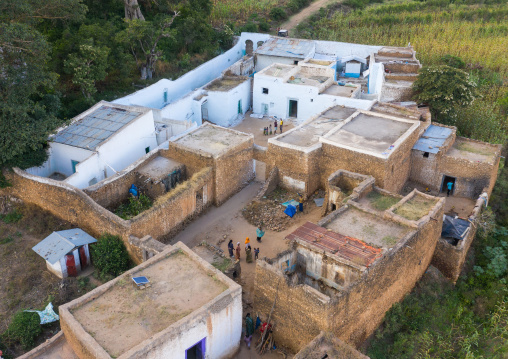 Aerial view of muslim holy site in the countryside, Harari Region, Harar, Ethiopia