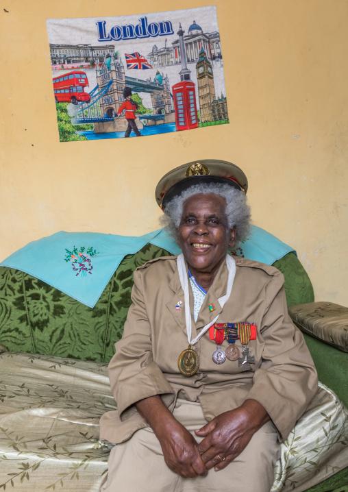 Ethiopian veteran woman from the italo-ethiopian war in army uniform, Addis Ababa Region, Addis Ababa, Ethiopia
