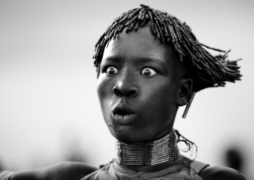 Expressive Portrait Of A Hamar Tribe Woman During Bull Jumping Ceremony, Turmi, Omo Valley, Ethiopia