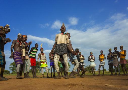 Bashada Tribe Men Dancing, Dimeka, Omo Valley, Ethiopia