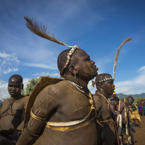 Bodi Tribe Fat Men Running During Kael Ceremony, Hana Mursi, Omo Valley, Ethiopia