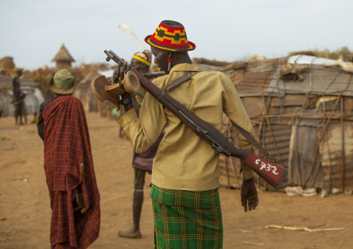Dassanech Tribe Warrior With His Gun, Omorate, Omo Valley, Ethiopia