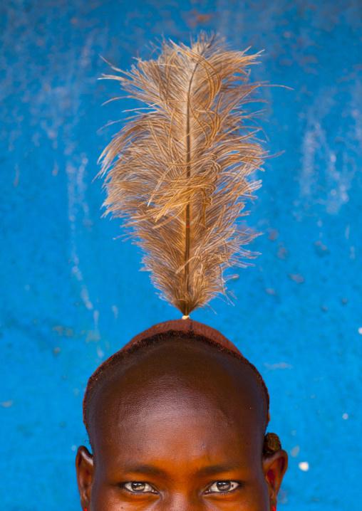 Hamer Man With Feather On His Head, Dimeka, Omo Valley, Ethiopia