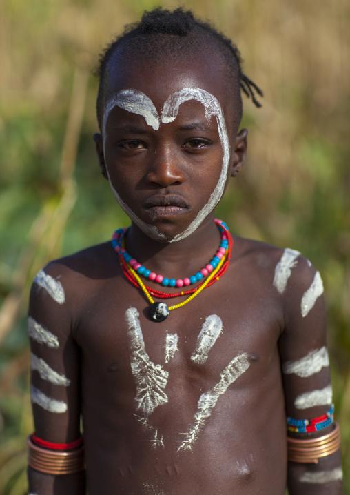 Bashada Tribe Kid With Body Painting, Dimeka, Omo Valley, Ethiopia