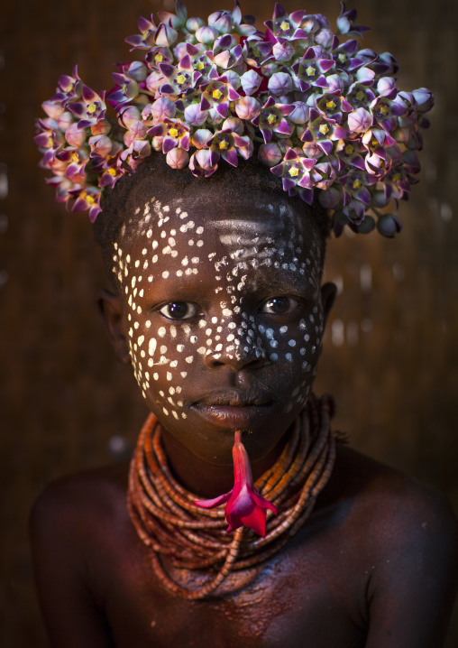 Kid With Flowers Decorations, Korcho, Omo Valley, Ethiopia