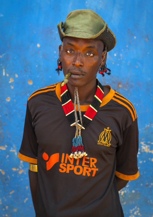Hamer Tribe Man With A Marseille Football Shirt, Turmi, Omo Valley, Ethiopia