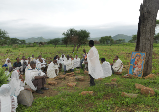 People doing the morning prayer in the open air Ethiopia