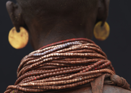 Detail Of Back View Karo Woman Beaded Necklaces Ethiopia