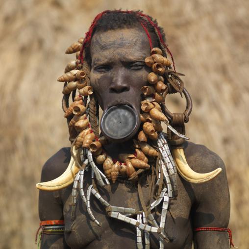 Portrait Of Clay Plate Lip Mursi Woman Ethiopia