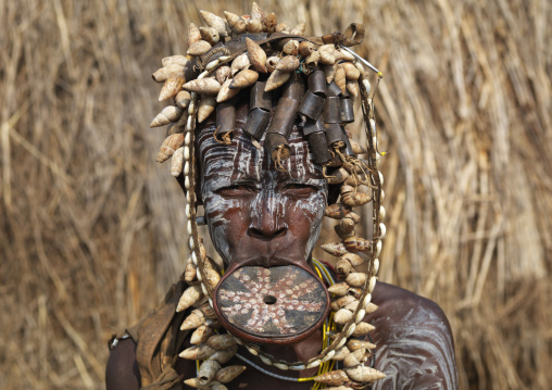 Decorated Clay Disc In Lip Shell Hairdress Mursi Woman Ethiopia